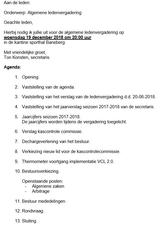 UItnodiging ledenvergadering 19-12-2018