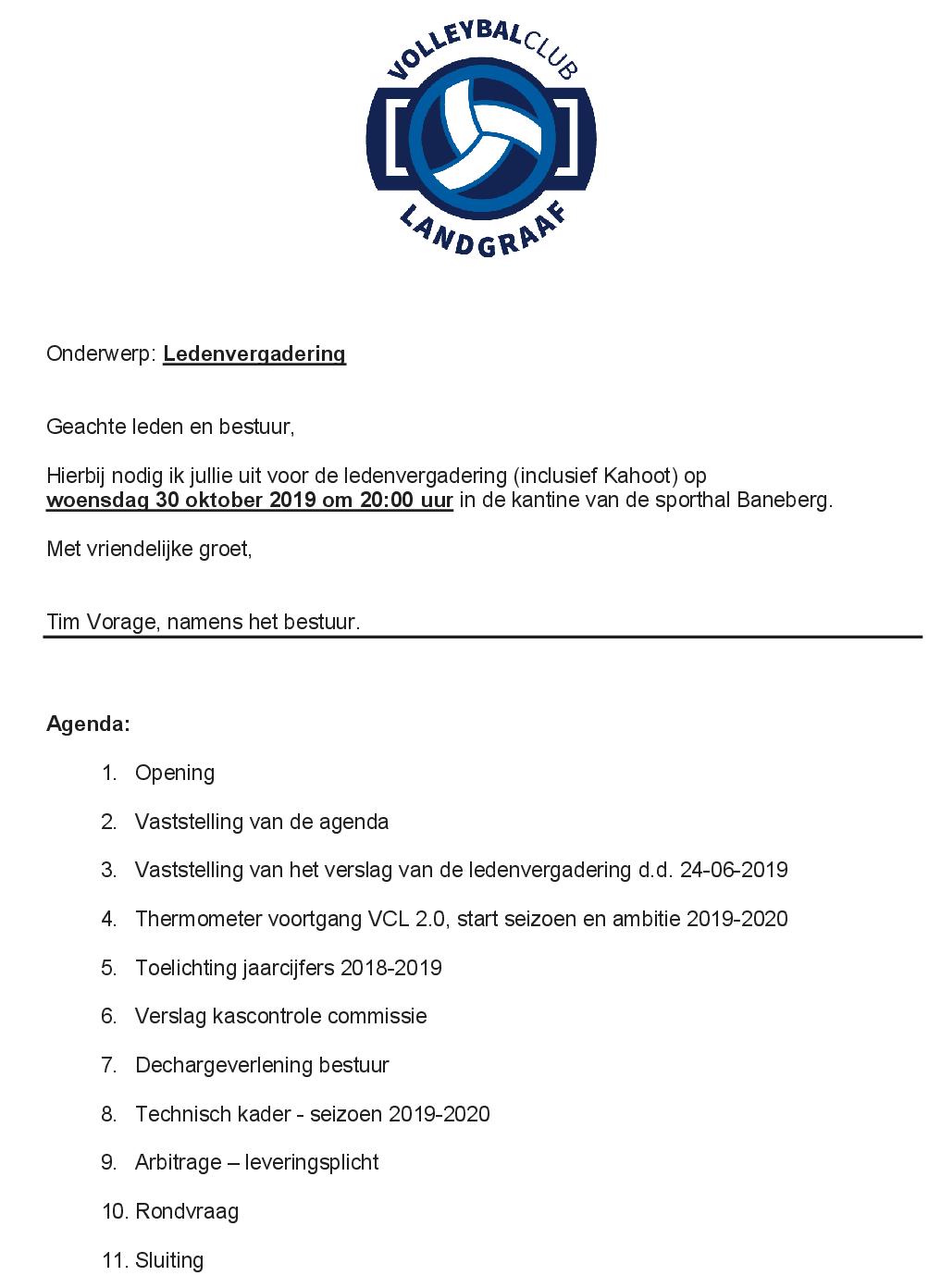 Agenda ledenvergadering 20191030