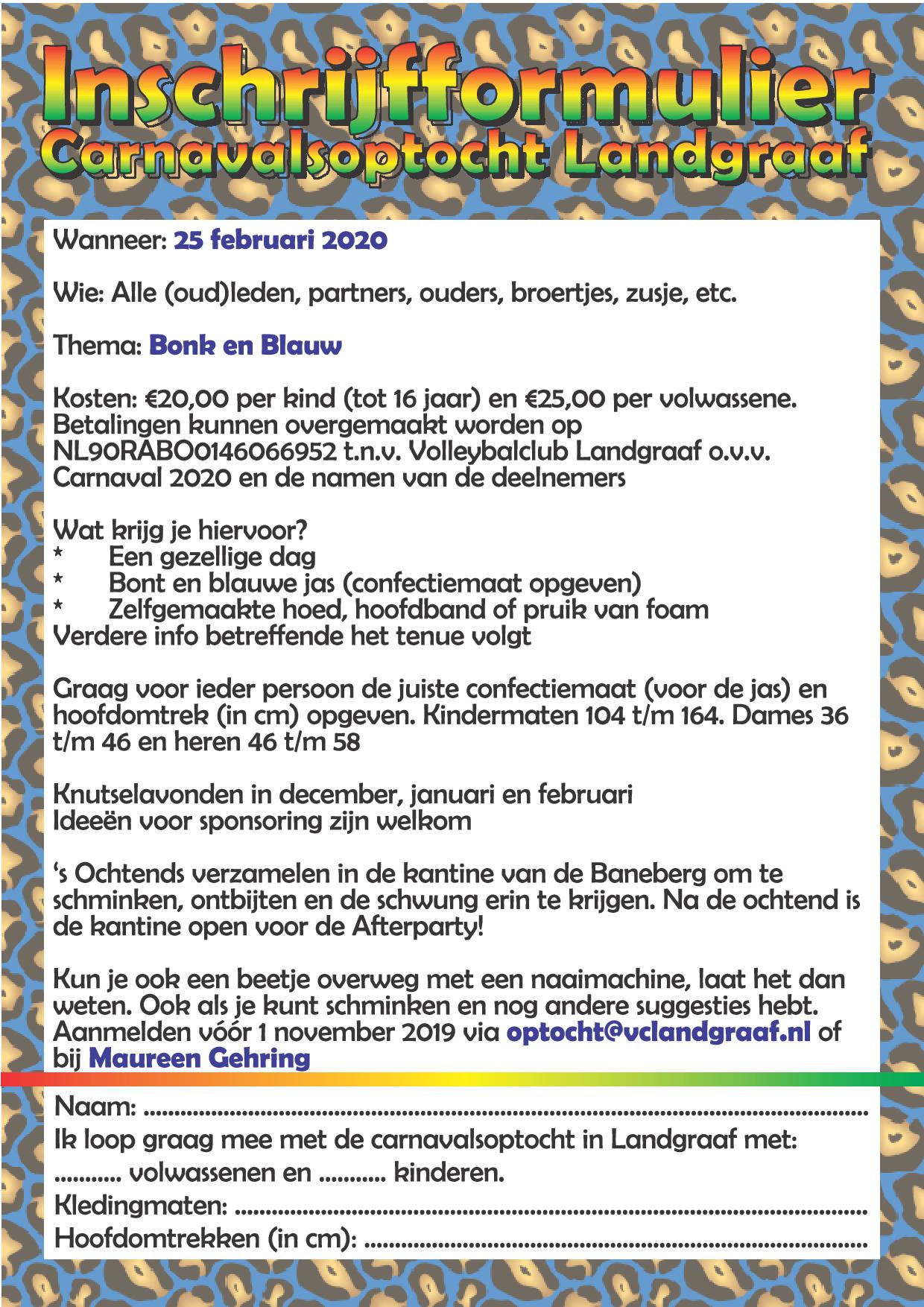 Inschrijfformulier carnaval-2020